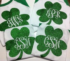 Monogramed Personalized St. Patrick's Day Baseball Shirts Glittered SHIPPING ON MONDAY 3-10-14