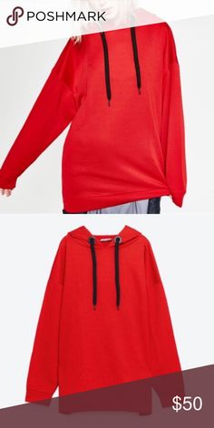 Zara Red oversized Hoodie Brand new Zara hoodie. Can be worn as a short dress or over leggings etc. Zara Jackets & Coats