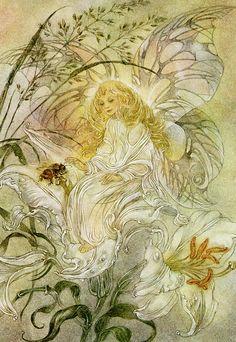 """White Lilies"" from 'Nature Spirits' 2002 Fairy Pictures, Nature Spirits, Photo D Art, Fairytale Art, Hans Christian, Flower Fairies, Angel Art, Fairy Art, Magical Creatures"