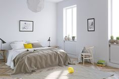 Mellow Yellow: 7 Soothing Apartments with Sunny Accents White Bedroom, One Bedroom, Modern Bedroom, Youth Rooms, Small Bedroom Designs, Home Trends, Mellow Yellow, Yellow Black, Boy Room