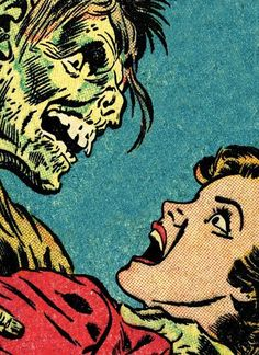 Comic illustration adapted from art by Reed Crandall & George Peppe from The Corpse That Came to Dinner in the July 1953 issue of Out of the Shadows #9- for the cover of Four Color Fear: Forgotten Horror Comics of the 1950s