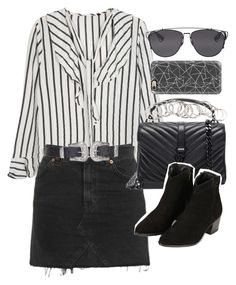 """Outfit with a striped blouse and denim skirt for summer"" by ferned ❤ liked on Polyvore featuring Topshop, Yves Saint Laurent, Casetify, H&M and Christian Dior"