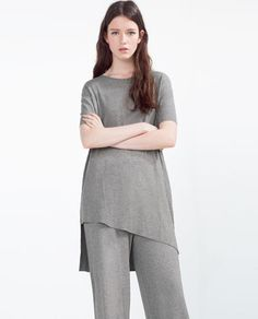 Image 2 of RIBBED T-SHIRT from Zara