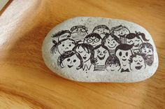 """""""people"""" ~ pebbles from Portugal, hand painted by Sabine Ostermann"""
