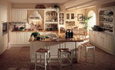 Kitchen:Futuristic Kitchen Design With L Shape White Kitchen Cabinet And Wooden Kitchen Countertop Also Square Shape White Kitchen Stool Idea Old Style Kitchen Decorating Ideas for Your Home