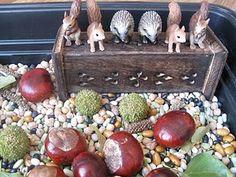 Autumn sensory tray with animals
