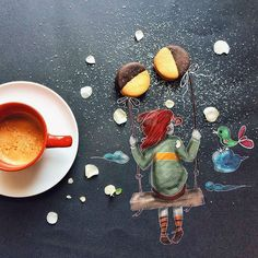 On black sheet illustration while having her morning coffee by Cinzia Bolognesi Little's Coffee, Coffee Is Life, I Love Coffee, Coffee Cafe, Coffee Break, Morning Coffee, Coffee Shop, Latte Art, Illustrator