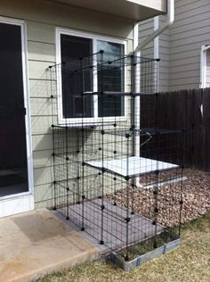 Build A Do-It-Yourself Outdoor Cat Enclosure Or Run using wire shelves