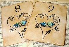 The Love Birds Table Card Number or NameLayered 3d by craftypagan, $8.50