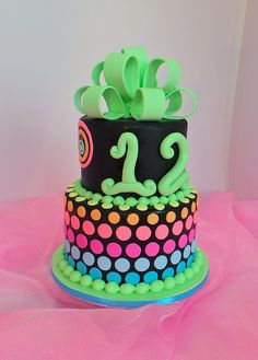 Design was brought in by client. Glow Party, Disco Party, Kylie Birthday, Birthday Parties, Bday Girl, Neon Glow, Cool Birthday Cakes, Cute Cakes, Beach Party