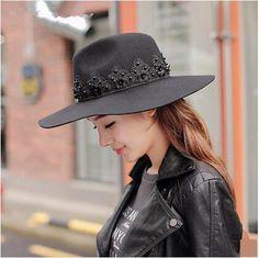 Flower lace fedora hat for women warm wool felt hats wide brim