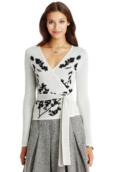 622d26a3594c3d DVF Kyla Metallic Jacquard Wrap Sweater in shadow branches ivory Closet  Collection