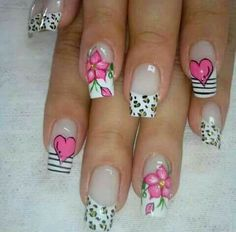 Accent Nail Designs, Valentine's Day Nail Designs, Flower Nail Designs, Daisy Nails, Flower Nails, Gel French Manicure, Manicure And Pedicure, Long Acrylic Nails, Acrylic Nail Art