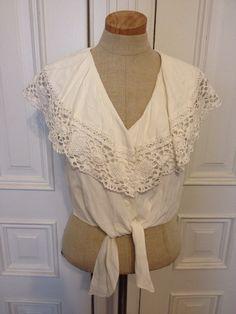 Vintage 90s white crochet tie crop top shirt  on Etsy, $18.00