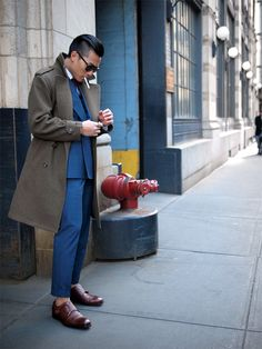 """huaizuwang: """" Kevin Wang in HVRMINN double-breasted suit. Overcoat by Vietto NYC. Sunglasses by Persol. Shoes by Sid Mashburn. """""""
