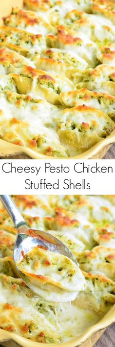 Cheesy Pesto Chicken Stuffed Shells. Pasta shells stuffed with a mixture of ricotta cheese and pesto chicken, baked in a simple white sauce, and topped with extra Mozzarella cheese. #comfortfood #pasta