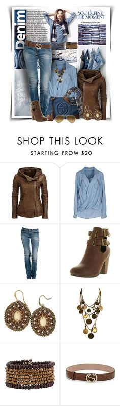 """""""Denim"""" by diva1023 ❤ liked on Polyvore featuring Pepe Jeans London, Replay, Breckelle's, Yves Saint Laurent, Cocobelle, Gucci and Ray-Ban"""