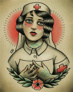 Nurse Flapper Traditional Tattoo Flash. via Etsy by ParlorTattooPrints