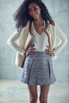 Chilly? Layer a knit moto jacket over a simple tee.