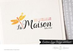 premade logo design watercolor dragonfly logo by MadameLevasseur