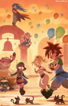 """slimu: """"My favorite thing to do in Chrono Trigger was make kittens everywhere :x """" Chrono Trigger, Akira, Chrono Cross, Character Art, Character Design, Classic Video Games, Arte Pop, Video Game Characters, Video Game Art"""