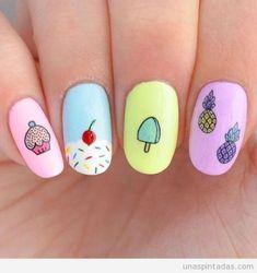 New Nails Art Facile Ananas Ideas - Best Pins Cute Acrylic Nails, Cute Nails, Pretty Nails, Trendy Nail Art, New Nail Art, Kawaii Nails, Nails For Kids, Unicorn Nails, Disney Nails