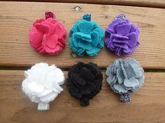 Felt Carnation Flower Glitter Clip Set by coffeetimecreations, $20.00