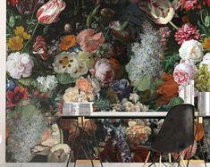 Vintage floral rose wallpaper / fond d'écran de printemps / facile installer et fond d'écran amovible / néerlandais papier peint peinture / floral / art décoration murale