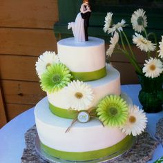 White and sage green wedding cake  I made for the beautiful Mrs. Musser :)