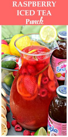 Raspberry Iced Tea Punch – Fresh berries, limeade and Raspberry Iced ...