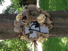 Chevron Burlap Wreath with Cross & Initial D