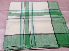 Green and Cream Plaid Tablecloth 1950s Linen 49 x by MillsVintage, $20.00