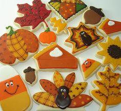 Autumn / Thanksgiving assortment with candy corn, turkeys, sunflowers, acorns, leaves, pumpkins & patchwork quilts