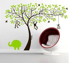 Fancy Colorfulworld Affe und Elefant Spielen auf Riesenbaum PVC Wandtattoo Wandaufkleber Wandsticker Kinderzimmer Gr n
