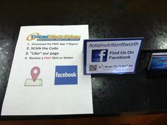 Good example of encouraging Fan Page activity from Total Nutrition Ft. Worth followmesticker.com/facebook-table-tent