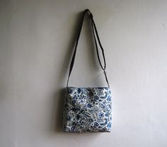Delft Printed  Canvas Crossbody Bag. $52.00, via Etsy.