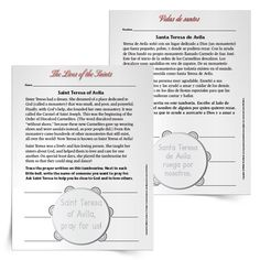 Celebrate the Feast Day of St Teresa of Avila with a printable resource for the primary students in your religious education classroom. In this Saint Teresa of AvilaPrimary Activity, children will reflect on Teresa's work to establish monasteries and then choose six people they can pray for.