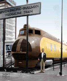 1934 Century of Progress International Exposition in Chicago: the Union Pacific Railroad displayed its lightweight, streamlined train delivered that year by Pullman-Standard, the M-10000.