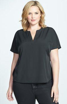 Sejour Split Neckline Short Sleeve Top (Plus Size) available at #Nordstrom