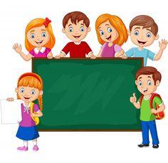 Cartoon school children with chalkboard vector image on VectorStock Chalkboard Vector, Frame Border Design, School Frame, Baby Girl Cakes, Kids Soccer, Cartoon Art, Vector Free, Classroom, Illustration
