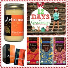 Day 6 of the #12daysofgiveaways with @ArtisanaFoods Cashew butter & Organic Dark Chocolate! #YUM