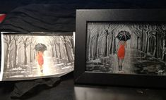 Lady with black umbrella, Glass engraving, Glas Gravur