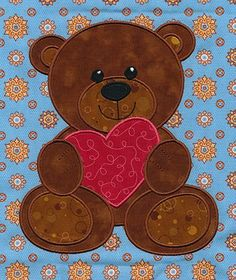 Teddy Bear with Gingham Ears /& Red Heart Iron On Applique x 1