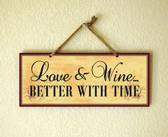 Decorative Wall Plaque With Beautiful Love And Wine Saying In Yellow, Red…