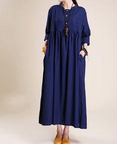 Simple atmospheric linen Maxi dress women tunic Long by MaLieb