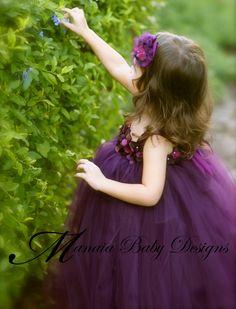 Flower Girl Tutu Dress / Eggplant Flower Girl by ManaiaBabyDesigns