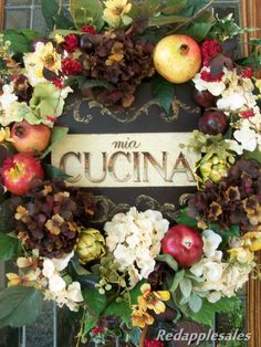 Tuscan Wreath with Vintage Style Art, Fruit and Floral Door or Wall via Etsy.