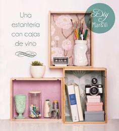estantería de cajas de vino