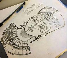 Cleopatra Tattoo, Nefertiti Tattoo, Dope Tattoos, Body Art Tattoos, Sleeve Tattoos, Tattos, Egyptian Drawings, Egyptian Art, African Tattoo