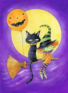 witch.quenalbertini: Cute little witch flying with black cat